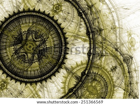 Fantasy steampunk design,abstract fractal machine - stock photo