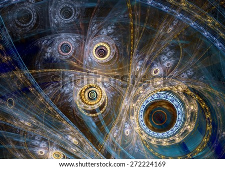 Fantasy steampunk design, blue and gold clockwork machine - stock photo