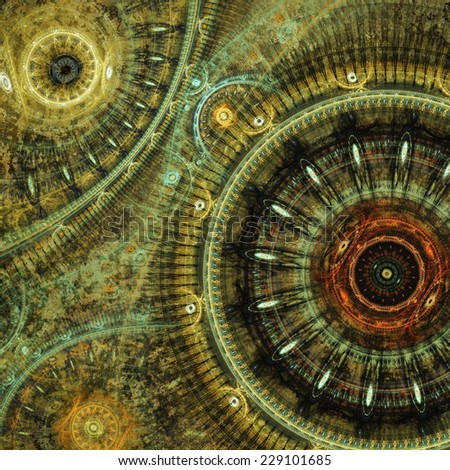 Fantasy steampunk design made of fractal clockworks - stock photo