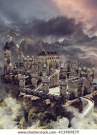 Fantasy stone castle in the mountain near the forest. 3D illustration.