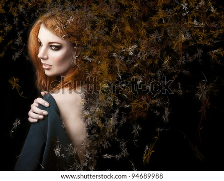 Fantasy style photo of a young beauty girl - stock photo