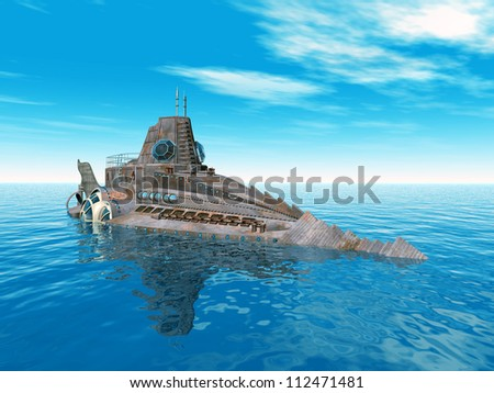 Fantasy Submarine Computer generated 3D illustration - stock photo