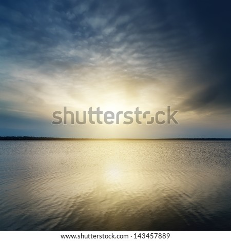 fantasy sunset over river - stock photo