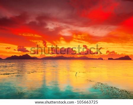 Fantasy sunset over the sea. Palawan. Philippines - stock photo