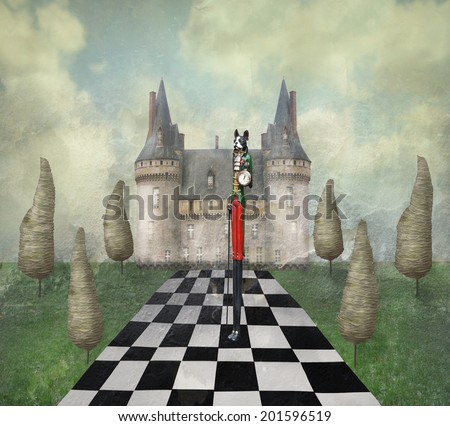 Fantasy surreal illustration in a dreamy place with a castle, trees, chess, sky, grass with a strange character  - stock photo