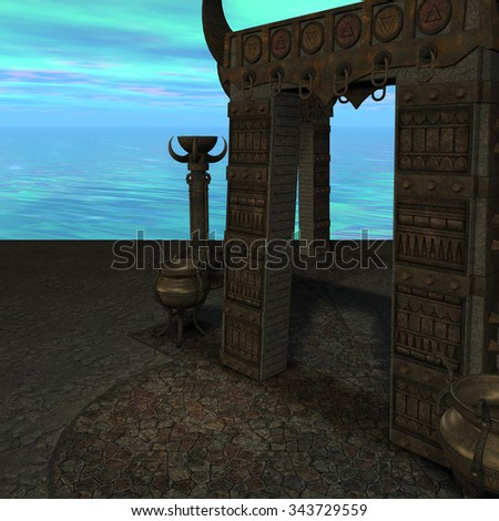 fantasy temple at dawn. 3D rendering of a fantasy theme for background usage. - stock photo