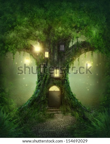 Fantasy tree house in forest - stock photo