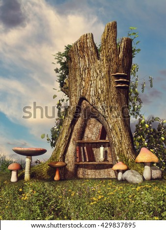 Fantasy tree with a bookshelf on a meadow among mushrooms. 3D illustration.