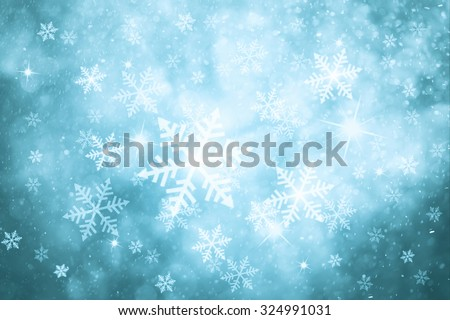 Fantasy turquoise colored abstract snowfall Christmas and New Year illustration background with sparkle. Beautiful silver turquoise colored greeting card with copy space background. - stock photo