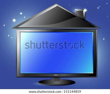 fantasy TV screen and house silhouette on night sky background and space for text - stock photo