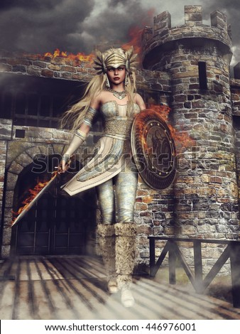 Fantasy valkyrie in front of a burning castle. 3D illustration. - stock photo