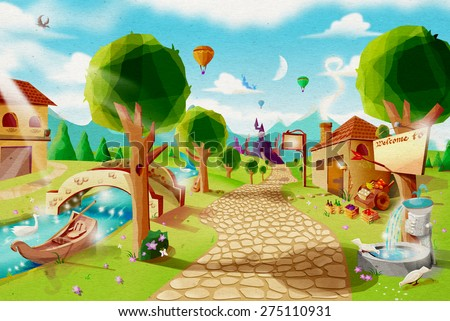 Fantasy Vintage Village with Perspective View from Brick Road to Fairy-tale Castle. Digital Art with rough paper texture. - stock photo
