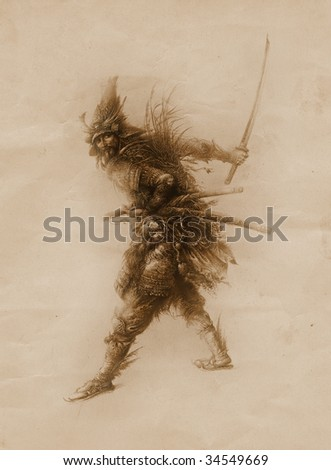 Fantasy warrior. Made by tempera on paper. - stock photo