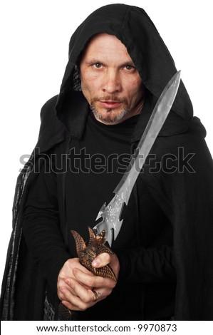 fantasy warrior or magician - stock photo