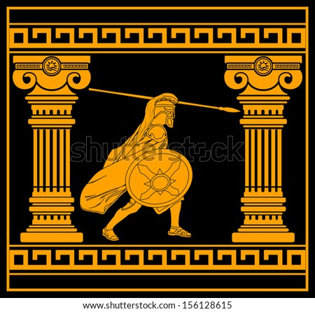 fantasy warrior with with columns. third variant. raster version - stock photo