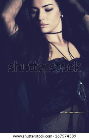 fantasy woman in blue studio shot - stock photo