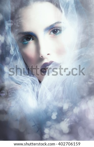 fantasy woman portrait with veil - stock photo