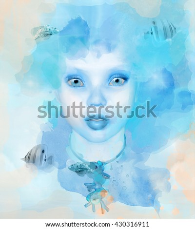 Fantasy woman with fishes - 3D and watercolors illustration - stock photo