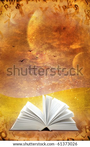 Fantasy world. Vertical grunge background with magic book - stock photo