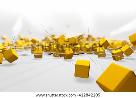 Fantasy yellow plastic cubes background. Abstract futuristic technology composition. Depth of field settings. 3d rendering. - stock photo