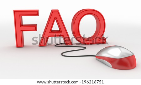 FAQ and Computer Mouse concept - stock photo