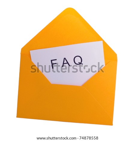 Faq card in yellow envelope - stock photo