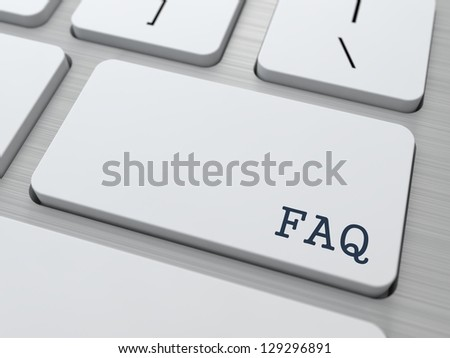 FAQ Concept. Button on Modern Computer Keyboard with Word FAQ on It.
