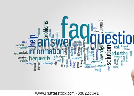 FAQ concept word cloud background