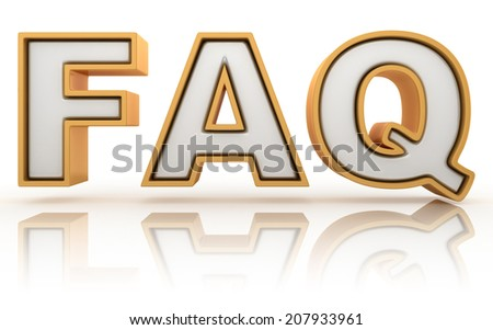 FAQ - frequently asked question abbreviation, golden letter sign isolated on white background - stock photo