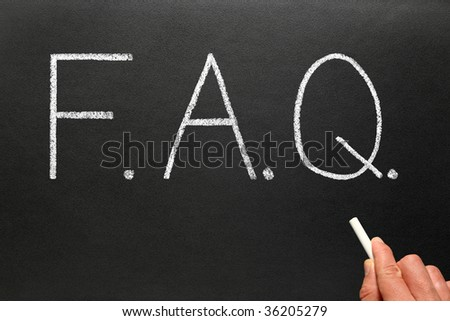 FAQ, frequently asked questions abbreviation, written on a blackboard. - stock photo