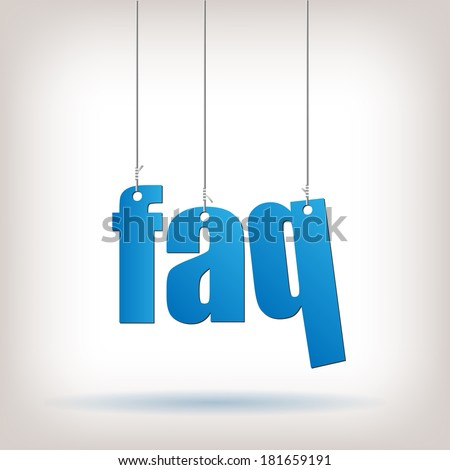 FAQ hanging text illustration. Vector file available.