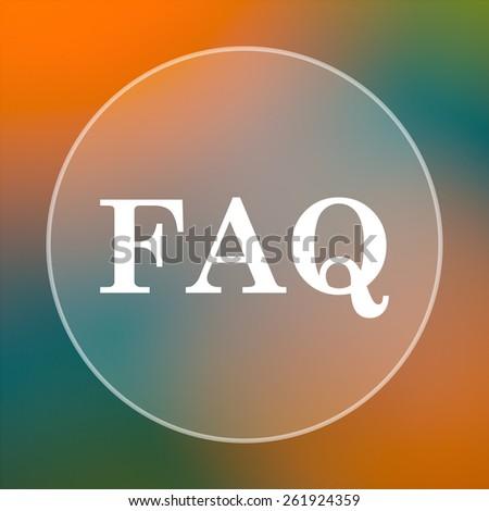 FAQ icon. Internet button on colored  background.  - stock photo