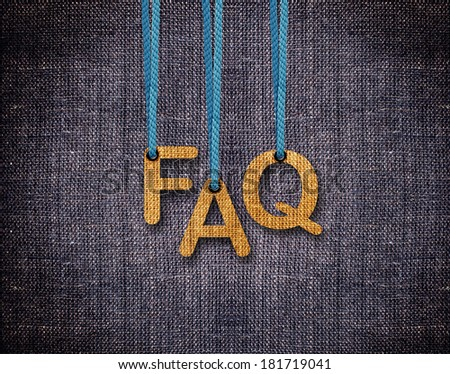 FAQ Letters hanging strings with blue sackcloth background. - stock photo
