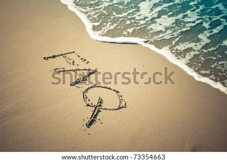 faq message in the sand - stock photo