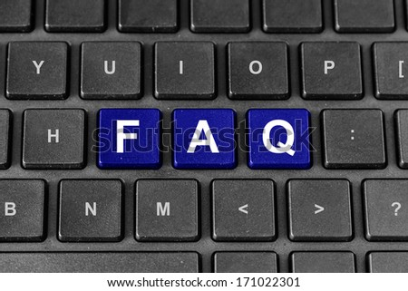 FAQ or Frequently asked questions blue word on keyboard