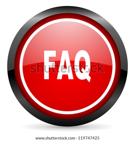 faq round red glossy icon on white background - stock photo