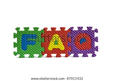FAQ sign with alphabet puzzle letters isolated on white background