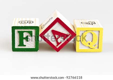 Faq word made by letter blocks - stock photo