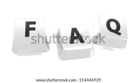 FAQ written in black on white computer keys. Frequently Asked Questions. 3d illustration. Isolated background.