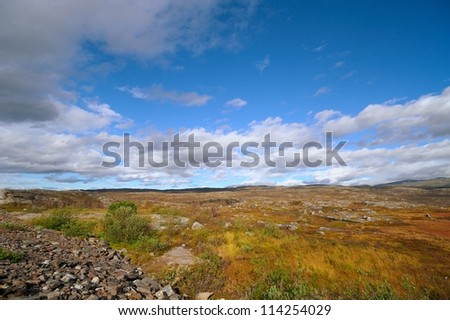 Far above Summer rocky mountain landscape - he Arctic Circle - stock photo