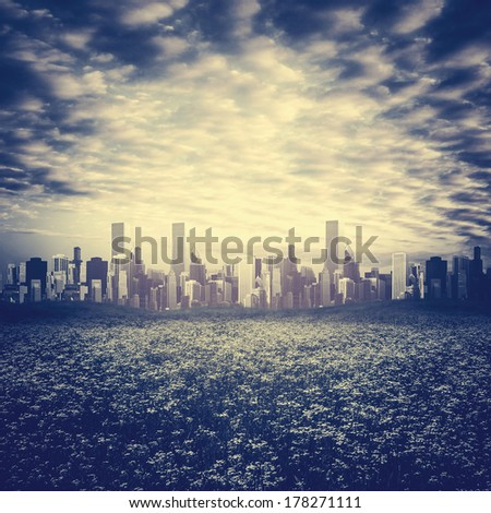 Far away, abstract urban backgrounds - stock photo