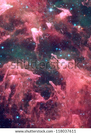 Far being shone nebula and star field against space - stock photo