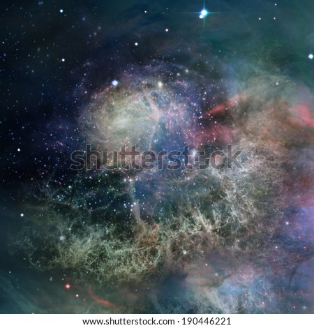 Far being shone nebula and star field against space. Elements of this image furnished by NASA. - stock photo