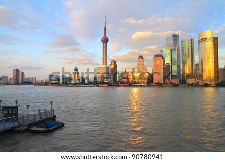 Far East city of Shanghai Lujiazui evening scenery - stock photo