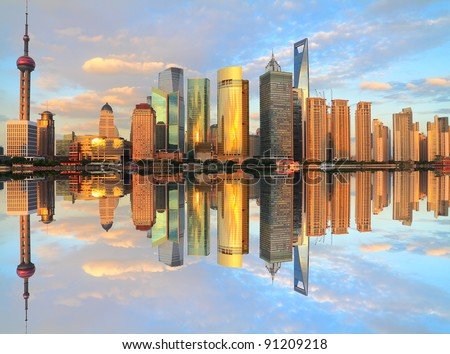 Far East city of Shanghai Lujiazui evening scenery - stock photo