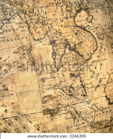 far east fragment of ancient aged map with malaysia vietnam bangladesh and china and more - stock photo