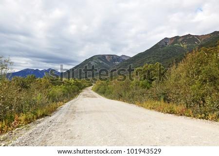 Far east, Russia, Kamchatka, road landscape - stock photo