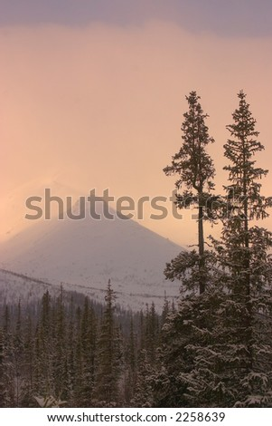 Far northern peak. A kind from a valley - stock photo