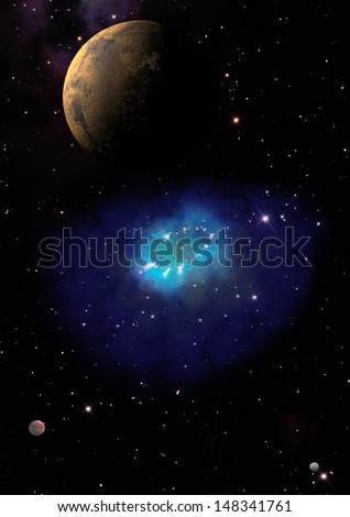 "Far-out planets in a space against stars. ""Elements of this image furnished by NASA""."