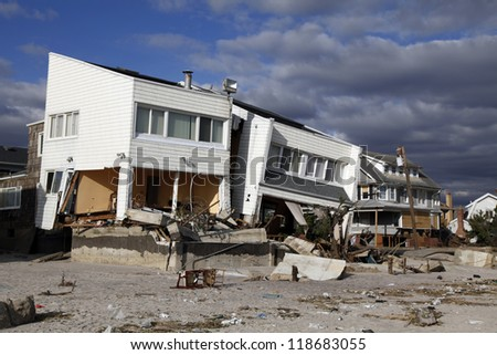 FAR ROCKAWAY, NY - NOVEMBER 4: Destroyed beach houses in the aftermath of Hurricane Sandy on November 4, 2012 in Far Rockaway, NY